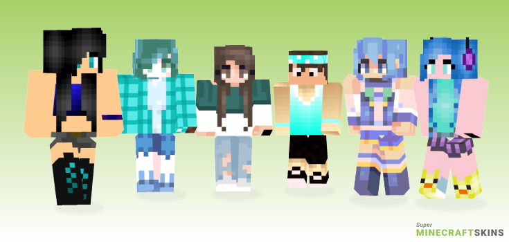 Aqua Minecraft Skins - Best Free Minecraft skins for Girls and Boys