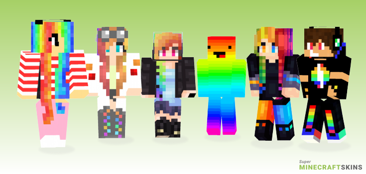 Rainbow Minecraft Skins - Best Free Minecraft skins for Girls and Boys