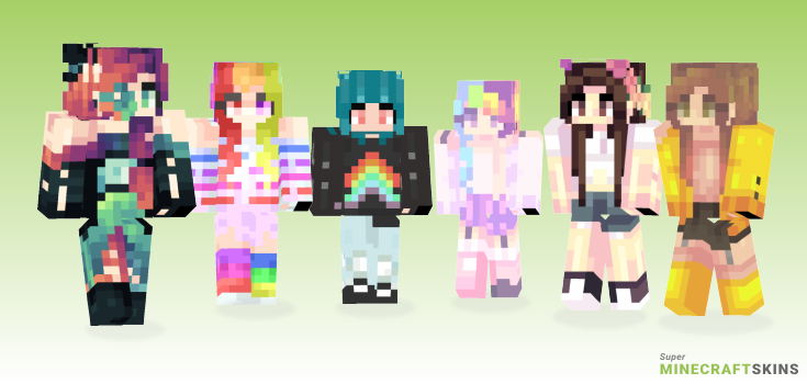 Rainbows Minecraft Skins - Best Free Minecraft skins for Girls and Boys