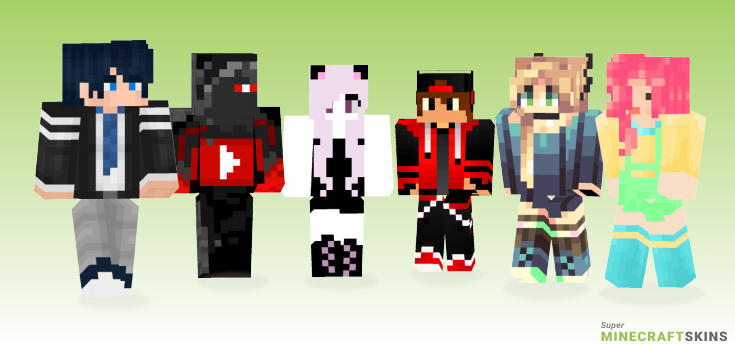 Youtube Minecraft Skins - Best Free Minecraft skins for Girls and Boys