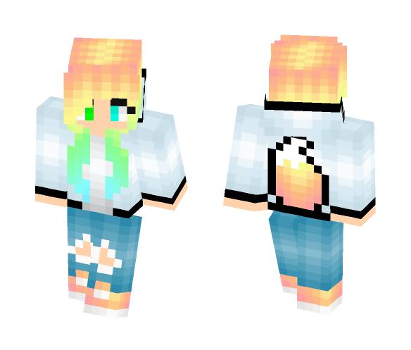 Download rainbow foxtail hoodie Minecraft Skin for Free