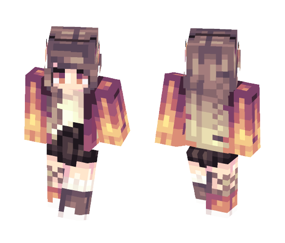 fire is hot // ouch - Female Minecraft Skins - image 1