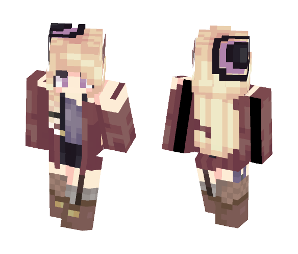Download Cute Teen Girl with Red Cloak Minecraft Skin for