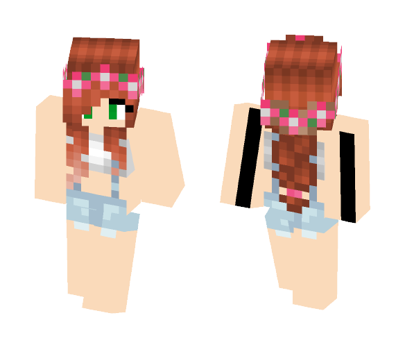 Blue and White Overalls - Female Minecraft Skins - image 1