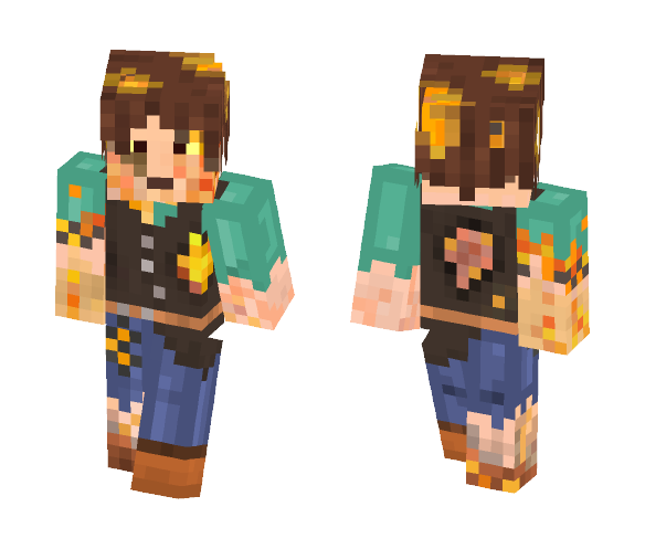 Blazing Heart Curse Victim - Male Minecraft Skins - image 1