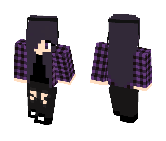 Gray Purple Emo Chick - Female Minecraft Skins - image 1