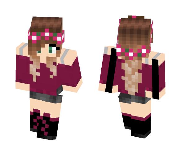 Pink Flower Girl - Female Minecraft Skins - image 1