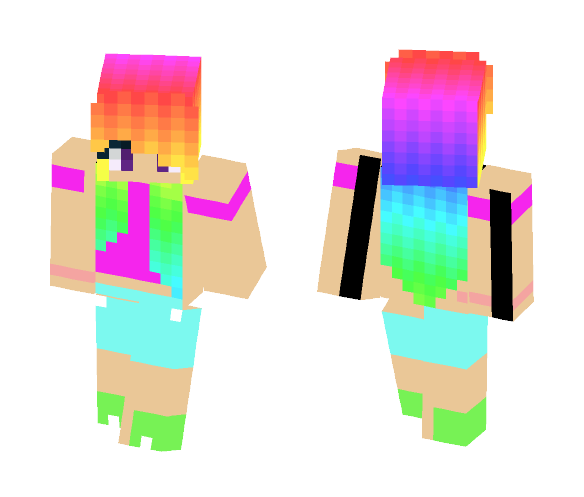 Download Cute Rainbow Girl Minecraft Skin For Free
