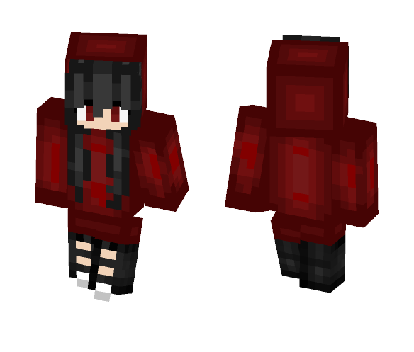 Download Hair: Download Black Haired Girl In A Red Hoodie. Minecraft Skin