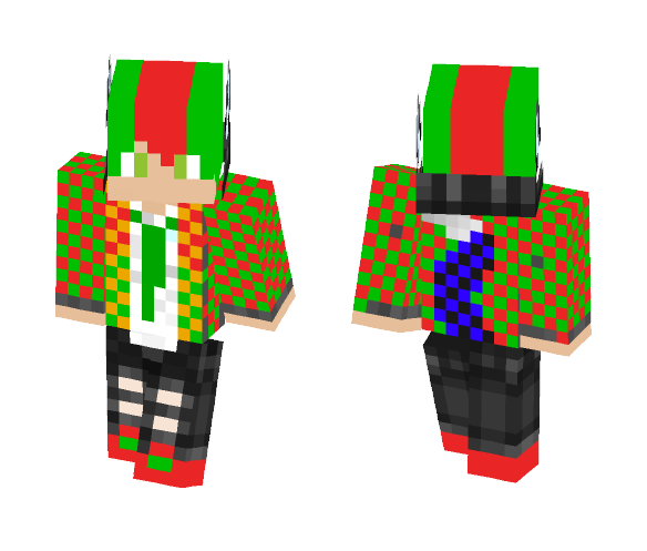 Red And Green Werewolf boy - Boy Minecraft Skins - image 1