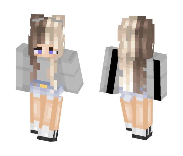 half blonde half brunette girl - Girl Minecraft Skins - image 1