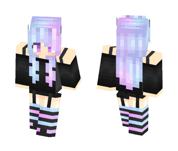 Pastel goth horned cutie - Female Minecraft Skins - image 1