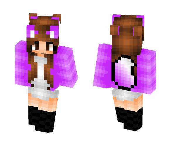 Purple wolf girl - Girl Minecraft Skins - image 1