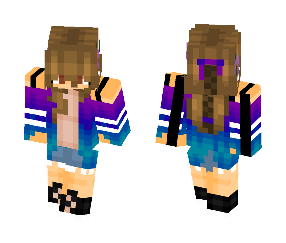 Purple Blue//My own edit - Female Minecraft Skins - image 1