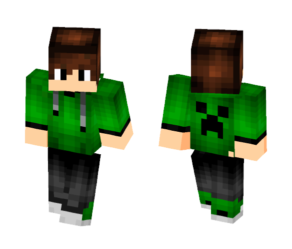 creeper on back with green hoodie - Male Minecraft Skins - image 1