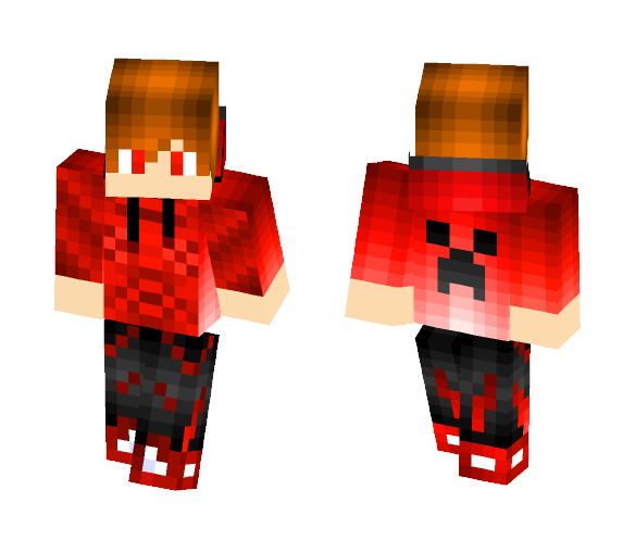 creeper on back with red hoodie - Male Minecraft Skins - image 1