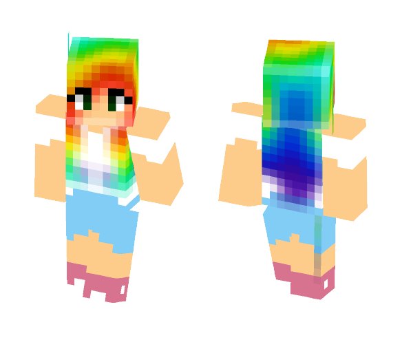 Rainbow Hair Girl - Color Haired Girls Minecraft Skins - image 1