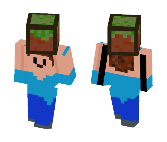 8bit Steve With Grass - Male Minecraft Skins - image 1