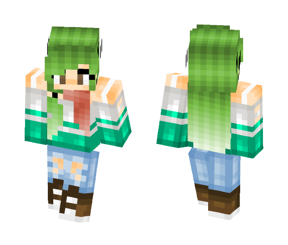Download Green Hair High School Girl Minecraft Skin For Free
