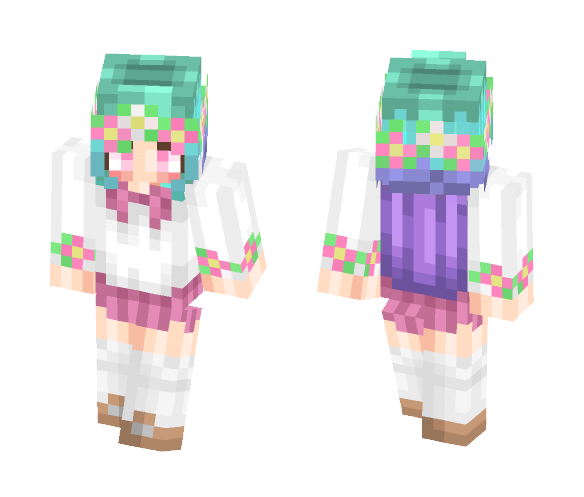 Download Cute Flower Anime Girl Minecraft Skin for Free