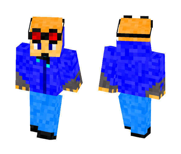 Blue hoodie with Goggles - Male Minecraft Skins - image 1
