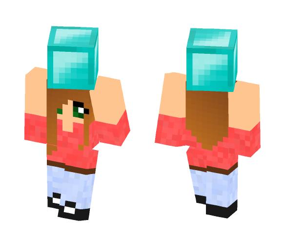 Girl Holding Diamond Block - Female Minecraft Skins - image 1