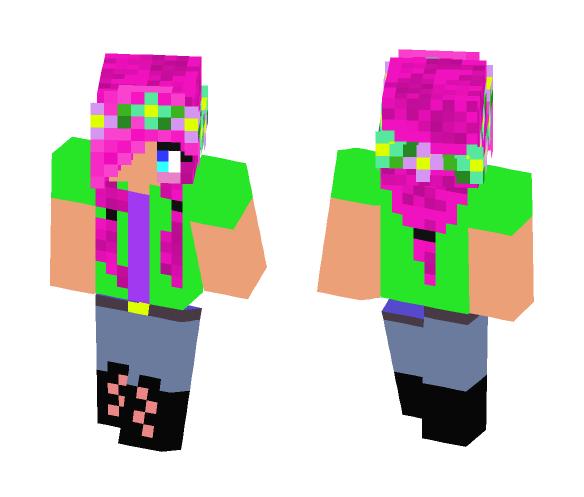 Ponytail Flower Crown Girl - Flower Crown Minecraft Skins - image 1
