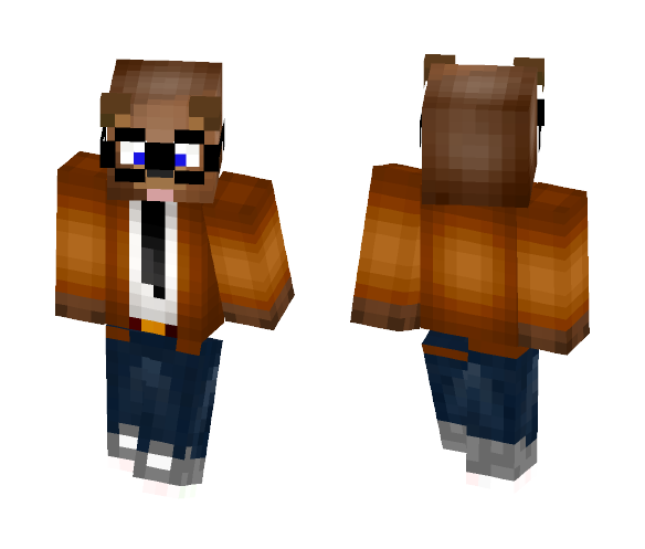 Bear In Suit Orange - Male Minecraft Skins - image 1