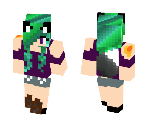 Sea haired wolf girl - Color Haired Girls Minecraft Skins - image 1